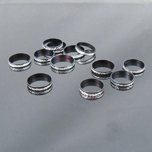 4mm 블랙 알루미늄 반지 혼합 패션 주얼리 반지 많이