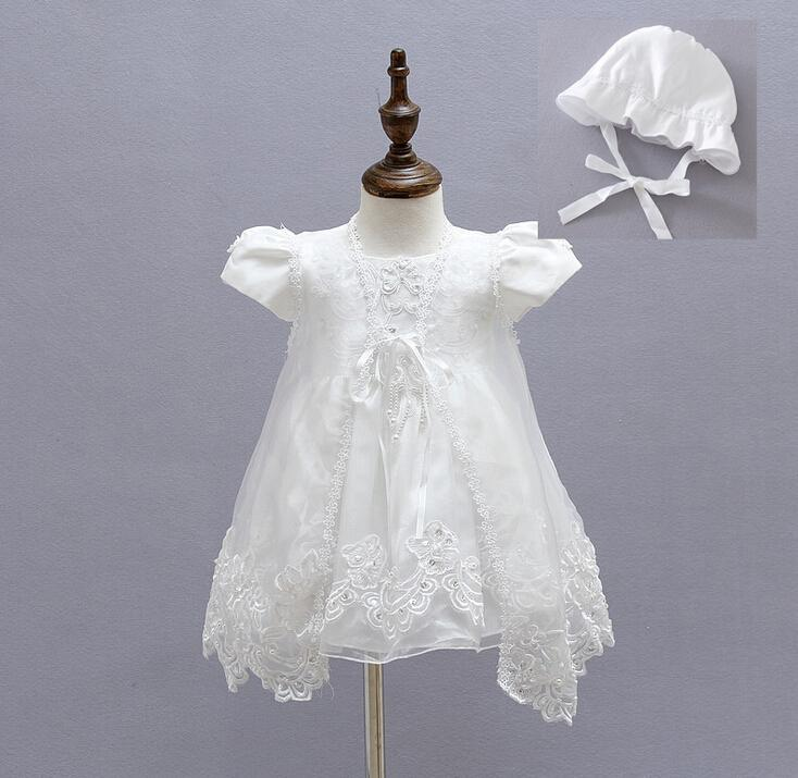 3PCS/Set Retail Girl Dresses Children Dress Party Summer Princess Baby Girl Wedding Dress Hat Birthday For 3-24M