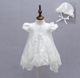 Wholesale Baby Dress Hat Set - 3PCS Set Retail Girl Dresses Children Dress Party Summer Princess Baby Girl Wedding Dress Hat Birthday For 3-24M
