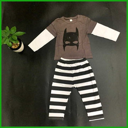 Wholesale Cheap European Clothes - dark gray high quality girls clothes suits fashion cat print stripes long pants sleeve white tops children clothing set outfits cheap price