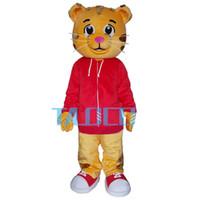 traje de mascote vermelho venda por atacado-Bonito daniel o tigre vermelho jaqueta personagem de desenho animado traje da mascote fancy dress