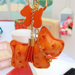 Wholesale Leather Toy Animals - PU Leather Animal Little Dogs Key Chain Bag Phone Decorations Toys 10 pcs a lot Birthday Gift
