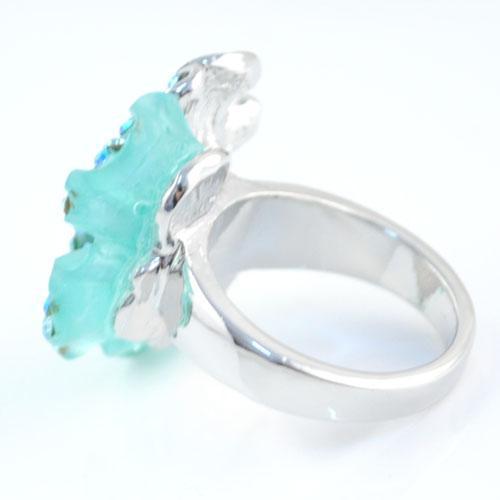 새로운 반지 보석, 푸른 연꽃 골동품 꽃 반지 새로운 스타일의 반지 RN - 409D