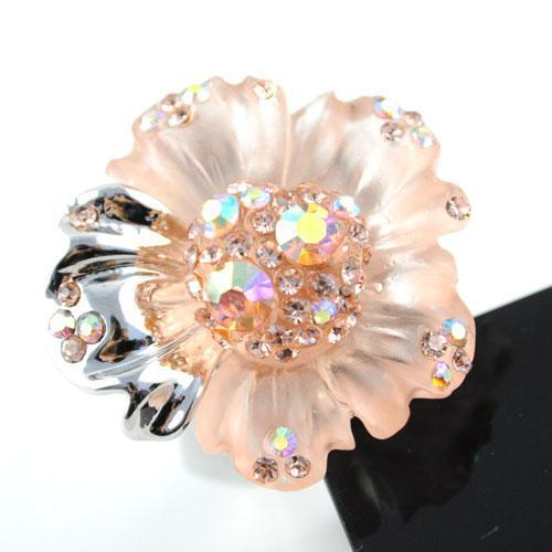 새로운 반지 쥬얼리, 핑크 섬유 Pincess 꽃 여성 손가락 반지, 결혼 반지, RN - 409E