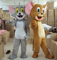 Wholesale Tom Jerry Halloween Costumes - Hot sell Tom Cat and Jerry Mouse Mascot Fancy Dress Outfit Chirstmas Halloween Costumes Suit Birthday Party character Costume