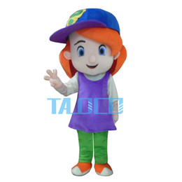 Wholesale Cartoon Girl Mascot Costumes - Cool Debby Maiden Virgin Little Girl Lassock Young Girl Maid Mascot Costume Cartoon Blue Clear Eyes Purple Dress