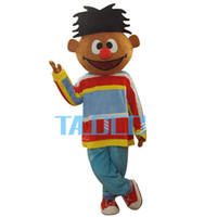 Wholesale Adult Ernie Costume - Sunshine Orange Boy Lad Ernie Sesame Street Mascot Costume With Red Conglobate Big Nose Blue Trouser Adult Size Free Shipping