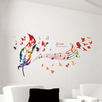 cotización calcomanía etiqueta al por mayor-Nota de la música Colorido Feather Wall Decals Butterfly Pattern La canción de Birds Quote Wall Sticker DIY Decoración Del Hogar Wallpaper Art Decor