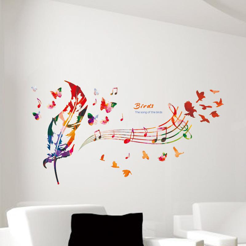 Music Note Colorful Feather Wall Decals Butterfly Pattern The Song Of Birds Quote Wall Sticker Diy Home Decoration Wallpaper Art Decor Home Wall Decor