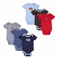 Wholesale Baby Layettes - Newly 6 Pieces Lot Newborn Short Sleeve Sets Bodysuit Roupa Bebe Boy Girl Layette Summer Clothes Infant Baby Boy Clothing Cotton