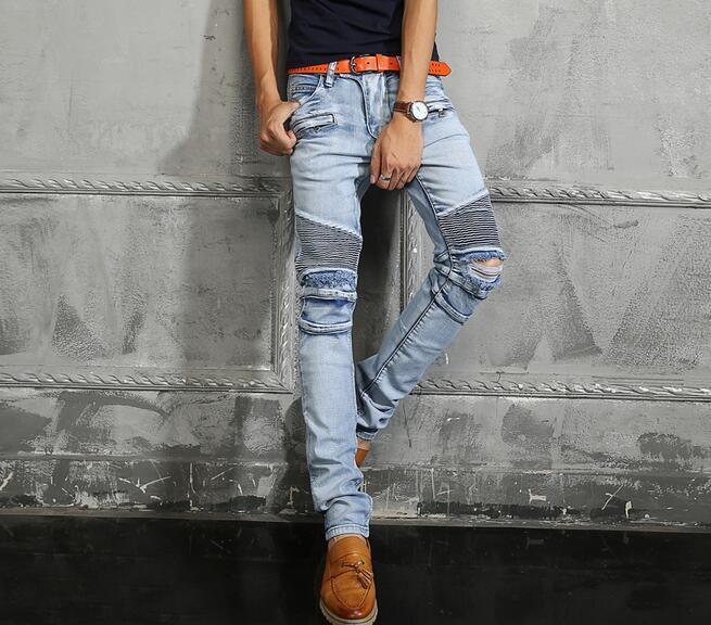 La Denim Plus Taille 42 2016 Fit Straight Designer Top Distressed Plissé Slim Pantalon En Coton Jeans Mens Biker BrdCoxe