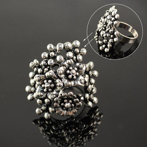 Mode Vintage Zilveren Kleur Metalen Coral Ringen voor Vrouwen Antieke Zilveren Sieraden Unieke Ontwerp Coral Ringen Rekbare Maat Ringen RN-420