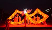 ingrosso costumi da ballo rosa-18m size 3 Per 10 persone Chinese Spring Day luci a LED tessuto in seta stampa drago DRAGON DANCE Dragon Folk Festival Celebration Costume