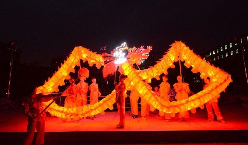 18 m taille 3 Pour 10 personnes Chinois Printemps Jour LED lumières Dragon tissu d'impression en soie Lumière DRAGON DANCE Costume Festival Folk Dragon