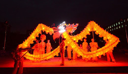 Wholesale costume chinese dance - 18m size 3 For 10 people Chinese Spring Day LED lights Dragon silk print fabric Light DRAGON DANCE Dragon Folk Festival Celebration Costume