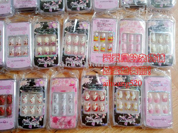 24nailshand painted full cover nail tips 3d acrylic nail arts 24nailsset hand painted full cover nail tips 3d acrylic nail arts design with glue salon manicure wedding nail art tips set prinsesfo Choice Image