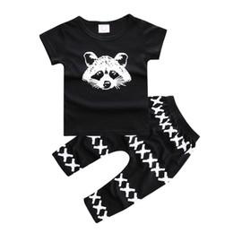 Wholesale Best Selling Clothes - INS Autumn Summer Best Selling 2PCS Set Baby Boys Set 100% Cotton Bear T-shirt + Boys cross PP Pant Black Kids Clothes Arrow Printing