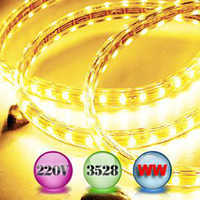 Wholesale Led Driving Lights Strip - 10M Warm White SMD3528 60lights 220VAC LED Strip Lights with a plug to drive Max 100M for Christmas Decorating Lights,Holiday Lights