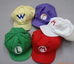 Wholesale Mario Wario Caps - Super Mario Bros Anime Cosplay Hat red white Mario green Luigi yellow Wario Purple Wario