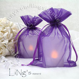 Wholesale Purple Organza Candy Bags - Tracking number-100PCS 10x15cm Purple Organza Wedding Favour Party Gift Candy Bag