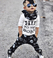 Wholesale Skull Harems - NWT 2016 New Cute Baby Girls Boys Outfits Set Summer Sets Boy Cotton Tops Shirts + Skull Harem Pants 2piece sets cool -Hip to the bone