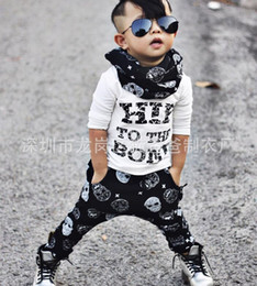 Wholesale Skull Harems - CUTE NWT 2016 New Cute Baby Girls Boys Outfits Set Summer Sets Boy Cotton Tops Shirts + Skull Harem Pants 2piece sets cool -Hip to the bone