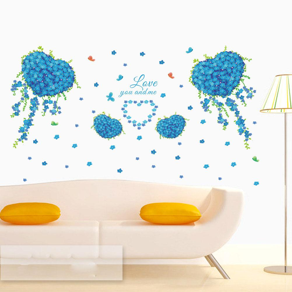 blue flowers with love heart shape butterfly wall decal love you blue flowers with love heart shape butterfly wall decal love you and me wall quote mural living room bedroom romantic wall stickers decor wall decals uk