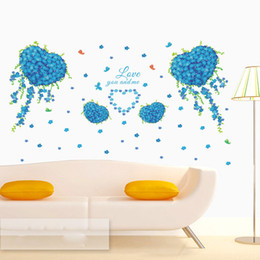 online shopping Blue Flowers with Love Heart Shape Butterfly Wall Decal Love you and Me Wall Quote Mural Living Room Bedroom Romantic Wall Stickers Decor