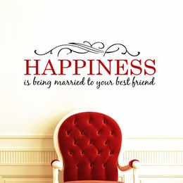 Wholesale Decal Married - Happiness is Being Married to your Best Friend Wall Quote Wall Sticker Flowers Vines Headboard Wall Poster Removable PVC Wall Applique