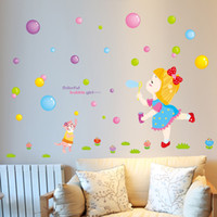 Wholesale Bubble Posters - Little Girl Blowing Bubbles on the Grassland Wall Stickers for Kids Girls Room Cat Chasing the Bubbles Wall Poster Colorful Bubble Girl Art