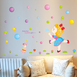 Wholesale Kids Bubble Sticks - Little Girl Blowing Bubbles on the Grassland Wall Stickers for Kids Girls Room Cat Chasing the Bubbles Wall Poster Colorful Bubble Girl Art