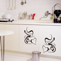 Love Heart Shape Coffee Cups Wall Stickers Living Room Bedro...