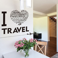 Wholesale Travel Wall Art Diy - Love Heart Shape Famous Sightseeing all over the World Words Wall Decals I love Travel Wall Quote Decor Mural DIY Home Decor Wallpaper Art