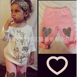 Wholesale Nwt Shirt - NWT 2016 New cute Baby Girls Boys Outfits Set Summer Sets Boy Cotton Tops Shirts + Harem Pants My mom is my stylist golden glitter sequins