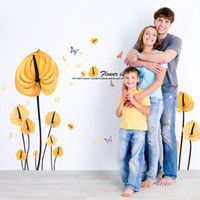 ingrosso adesivi gialli della farfalla-Amore a forma di cuore Foglie gialle Fiori Adesivi murali Foglie Rami Farfalle Camera di nozze Camera da letto Decor Wall Paper Art Murale Poster da parete