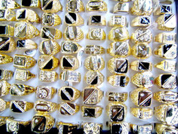 Wholesale Indian Free Channels - Fashion Jewelry Rings Jewellery Mix Lots 50X Golden Crystal Rhinestone Men's Sparkle Rings Free Shipping[MR24*50]