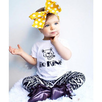 Wholesale Girl Summer Activewear - ins Girls Childrens Clothing Sets White Short Sleeve tshirts Printed Harem Pants 2 Piece Set Streetwear Activewear Kids Clothes