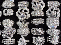Wholesale Cz Fashion Jewellery - Fashion Jewelry Rings Jewellery Mix Lots 25 Mix Style Crystal CZ Zircon Silver P Rings [CZ48*25]