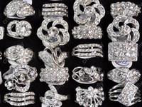 Wholesale 25 Jewelry - Fashion Jewelry Rings Jewellery Mix Lots 25 Mix Style Crystal CZ Zircon Silver P Rings [CZ48*25]