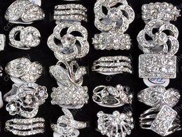 Wholesale cz fashion jewellery - Fashion Jewelry Rings Jewellery Mix Lots 25 Mix Style Crystal CZ Zircon Silver P Rings [CZ48*25]