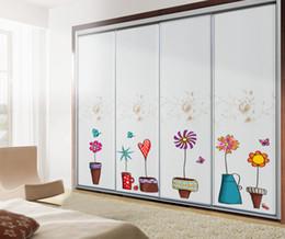 $enCountryForm.capitalKeyWord Canada - Cartoon Hand Drawing Pot Plant Flowers Wall Stickers Bonsai Butterfly Wall Border Decals Bathroom Glass Window Wall Poster Mural Wall Paper