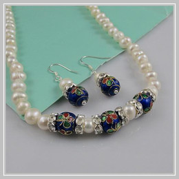 Discount wholesale fresh water pearl - wholesale AA 8MM blue Cloisonne 6-7mm white fresh water pearl necklace earring jewelry set A1557