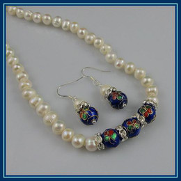 wholesale fresh water pearl 2019 - wholesale AA 8MM blue Cloisonne 6-7mm white fresh water pearl necklace earring jewelry set A1558 discount wholesale fres