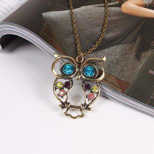 Partihandel brons uggla halsband Antik tröja halsband Fancy färg diamant smycken / parti