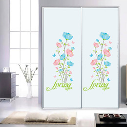 Bedroom wall caBinet design online shopping - Blue Pink Flowers Wall Stickers Cabinet Refrigerator Window Glass Decor Wall Decals Spring Flowers DIY Home Decor Wall Applique Poster
