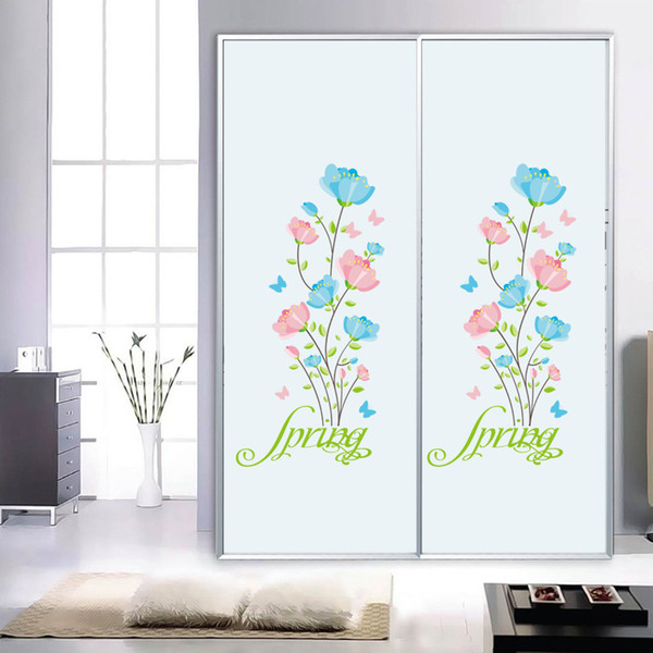 Blue Pink Flowers Wall Stickers Cabinet Refrigerator Window Glass Decor Wall Decals Spring Flowers DIY Home Decor Wall Applique Poster