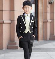 Wholesale Children Casual Wear - 2016 New Children Tailcoat Black Tuxedo Set Costume Birthday Fashion Casual Formal Boy Wedding Suits Blazers 5PCS Set F1016