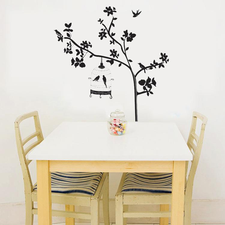 black tree branches birdcage birds wall stickers removable living