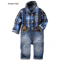 Wholesale Cool Shirts Collar Style - Baby cool Boy Clothes 2016 New Spring Clothing Brand Gentleman suit Chess For boys plaid Shirt + Suspender Trousers 2 pcs set 6pc lot