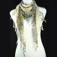 Wholesale Woven Necklace For Sale - Hot sale USA Leopard Shawl Jewelry muffer leopard knitting pattern scarf jewellery necklace scarves for women , NL-1491A